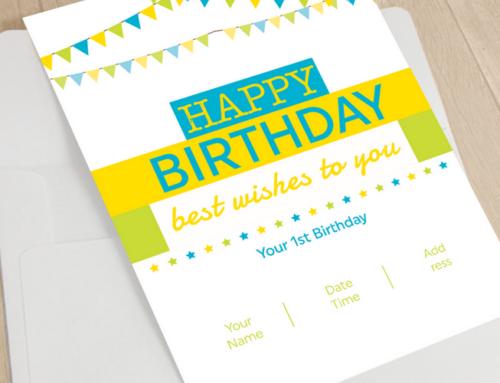 Custom 1st Birthday Card Design & Print