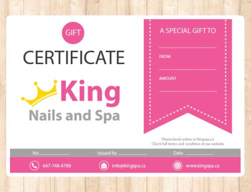 King Spa 기프트 카드 디자인 및 인쇄