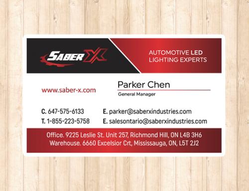 차량용 LED 전문회사 SABER X 명함 제작 및 인쇄